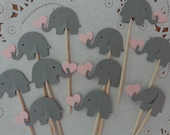 24 Grey Elephant Cupcake Toppers holding Light Pink Hearts - Food Picks - Party Picks - Gray Elephant Shower Decorations - Baby Sprinkle