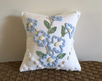 blue pillow cover, FORGET ME NOT 12 X 12 inches, blue cushion cover, cottage chic, shabby style pillow, porch pillow case