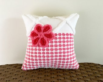 Hot pink pillow cover, 12 X 12, vintage chenille cushion cover, cherry pink pillow sham, deep pink rose cushion cover, pink nursery pillow