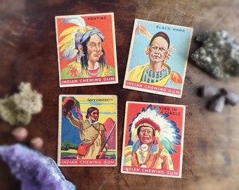 Rare Indian Chewing Gum Trading Cards Goudy Gum Co. 1930s Lot of 4