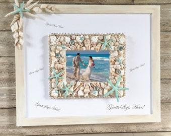 Beach Wedding Guest Book Alternative, Guest Book Picture Frame, Beach Wedding Photo Frame, Seashell Picture Frame, Starfish Guest Pen