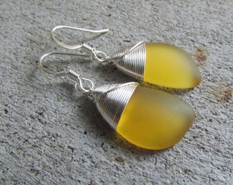sea glass ear rings golden yellow seaglass beach glass jewelry  earrings-bridesmaid earrings- teardrop  earrings
