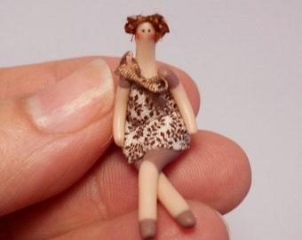 OOAK tiny Tilda doll in brown