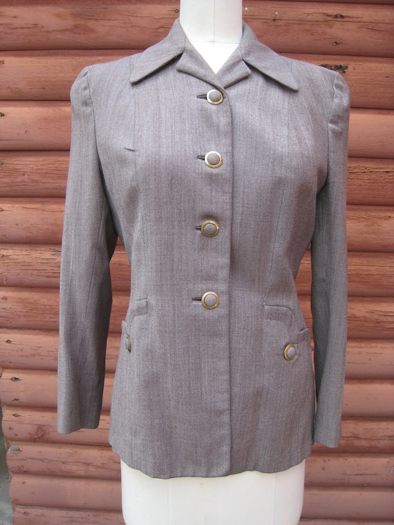Vintage Gabardine 1940s Jacket with Covered Buttons and Padded Shoulders
