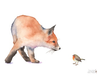 Fox print of watercolor painting, F7916, fox watercolor painting, fox painting, fox and robin art, woodland animal painting, A3 size large