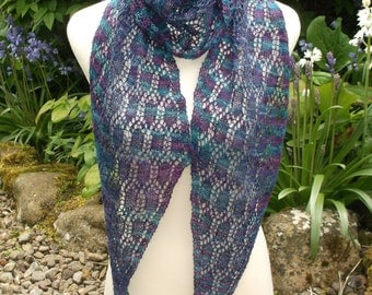 Women's hand knitted luxury hand dyed lacy scarf. OOAK. Purple and green shades . Diagonal scarf.