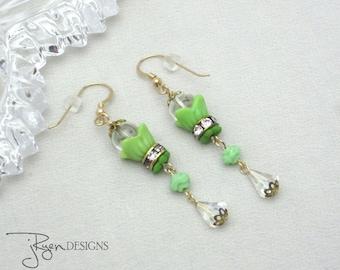 Vintage Assemblage Rhinestone Earrings, Green Flower Dangle Earrings Czech Beads, Crystal Earrings, One of a Kind Jewelry JryenDesigns