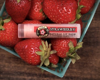 Lip Balm Natural STRAWBERRY with Organic Strawberry and Rosehip - .15 oz stocking stuffer