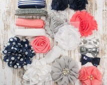 Hello,Sailor! Headband & Hair Accessory Starter Kit - Coordinating Elastic and Flowers to create hair bands and hair clips
