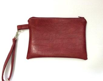 Red faux leather Paris lined wristlet wallet