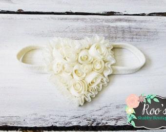 Ivory Heart of Roses Shabby Chic Baby Toddler Girls Headband - Heart Headband - Special Occasion Headband - Shabby Chic Headband