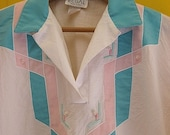 on sale Vintage Chevron Southwestern Inspired Clothing Geometric Blouse Turquoise and Pink Nylon Tribal Designs