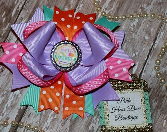 Spring Hair Bow - Beautiful Boutique Hair Bow - 5 inch Bow - pink lavender orange and aqua Hair bow - boutique Bow -  God's Masterpiece