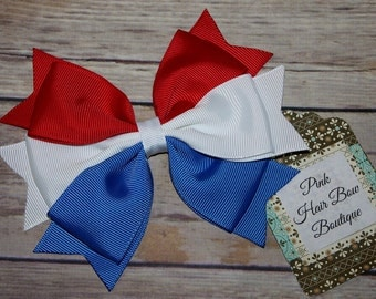 4th of July Hair bow . red white and blue