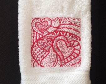 Valentine Red Hearts Design Embroidered on a White Bathroom hand towel