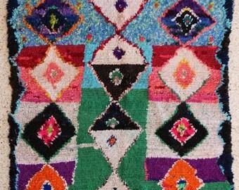 155x145 CM (5,1x4,9 feet) FREE SHIPPING worldwide  T26239 boucherouite , boucharouette,  moroccan rugs , berber rugs, morocco carpets