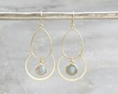 Labradorite Gold Chandelier Earrings  - Gemstone Earrings - Labradorite Earrings - Gold Earrings - Dangle Earrings