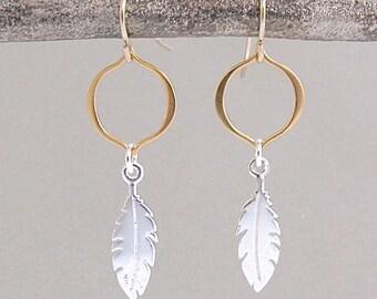 Silver and Gold Leaf Earrings - Silver Leaf Earrings - Dangle Earrings