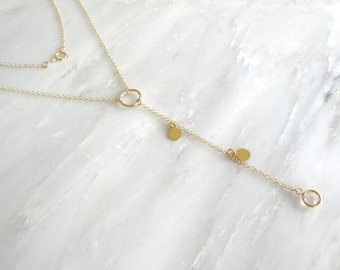 Gold Lariat Necklace - Gold Necklace - Layering Necklace - Long Necklace - Y Necklace