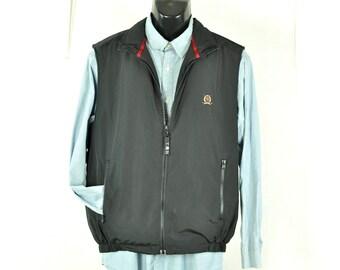 Tommy Hilfiger Vest Black Zip Up Outerwear Unisex Style 1990s Menswear Woodland Sportsman Hipster