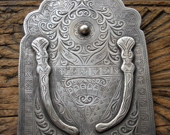 Moroccan large hand engraved Hand with swords or daggers