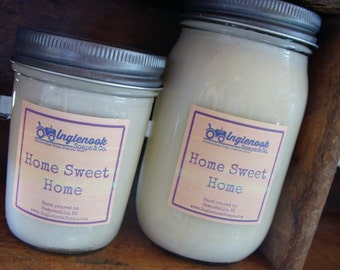 Home Sweet Home 8 or 16 ounce Soy Candle Inglenook Soaps Home Scents Home Goods