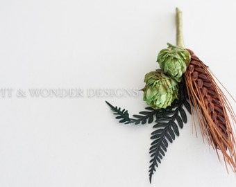 FERN Hops Boutonniere Chocolate Wheat and Fern leaves