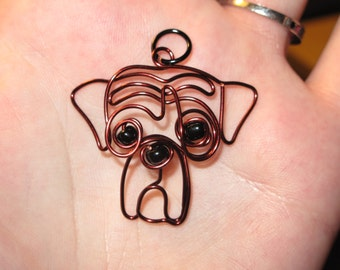 Wire Wrapped Boxer or Other Dog Beaded Pendant MADE to ORDER