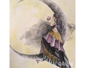 Mirella - Giclee Print of Original Watercolor Painting of a Gypsy Gazing into a Crystal Ball on a Crescent Moon by Anjou