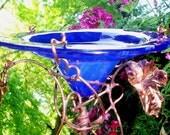 Iridescent, BUTTERFLY FEEDER, Cobalt Blue, stained glass, copper garden art, Suncatcher, Garden Stake