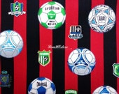 Football, red and black stripe, 1/2 yard, pure cotton fabric