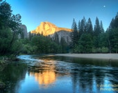 Yosemite National Park, Half Dome and Reflection, Fine Art Photograph, Sunset, Spring, Trees, Merced River, Landscape, Cliff, Art Print, Zen