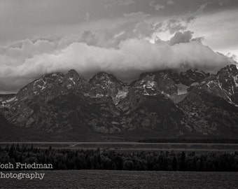 Grand Teton Mountain Range with Clearing Storm Black and White Landscape Photography Clouds Grand Teton National Park Fine Art Photograph