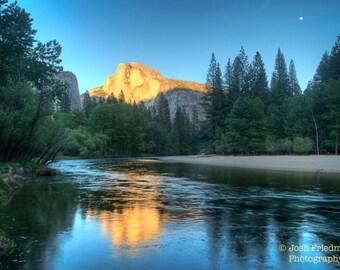 Yosemite National Park, Half Dome and Reflection, Fine Art Photograph, Sunset, Spring, Trees, Merced River, Landscape, Cliff, Art Print, Zen