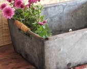 Vintage Galvanized Bin Crate Industrial Wedding Farmhouse Garden Decor Box with Wood Handles