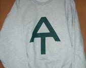 Hand screen printed Appalachian Trail Sweat Shirt Forest Green on Ash
