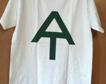 Hand screen printed Appalachian Trail T-Shirt Small; forest green on White