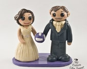 Custom Bride and Groom Volleyball Cake Topper