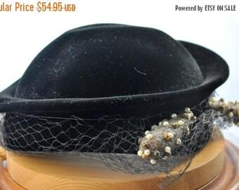 ON SALE Antique Black Velvet Hat, Formal Wear / Evening Hat