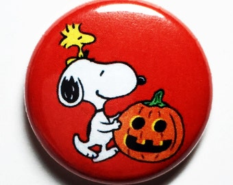 Pumpkin Snoopy - 1 inch Button, Pin or Magnet