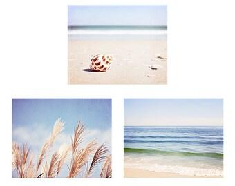 Blue Beach Photography Set, Light Blue Coastal Photographs, Blue Beige Brown Nautical Art, Ocean Wall Decor, Seashore Shell Picture Grouping