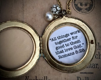 "Vintage Brass Locket Pendant Necklace - ""Chosen"" - Inspirational Jewelry - Altered Vintage - Vintage Assemblage - Shabby Chic - Gifts"