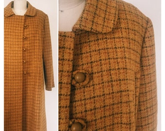 Vintage 1960s Coat / 60s Wool Coat • Mustard Plaid Coat with Side Buttons