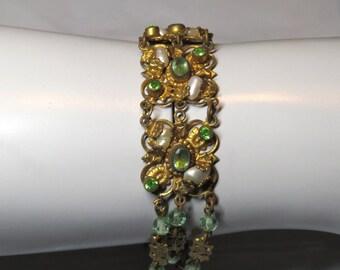 Vintage Czech Edwardian 1920s Ornate Faux Pearl, Peridot Glass & Filigree Bracelet