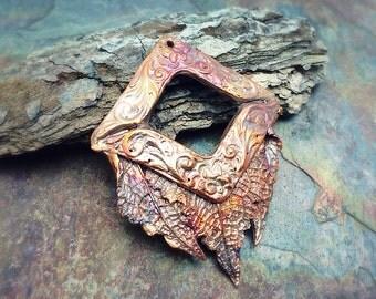 Artisan Copper Precious Metal Clay  Pendant