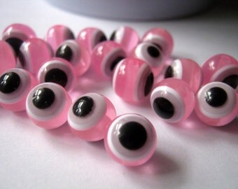 50 Pink Evil Eye Resin Beads 10mm, Jewelry Making Supplies