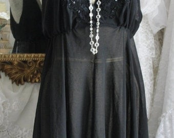 Black lingerie gown, black gown, black lingerie, black negligee, lingerie gown, sexy lingerie, sheer lingerie, honeymoon gown