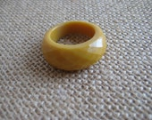 Faceted Plastic Ring Vintage Bubble Ring in Mustard Yellow
