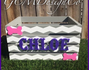 Chevron! Personalized childrens painted wood toy box