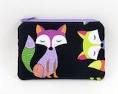 Purple Fox Coin Purse, Small Gadget Case, Zipper Pouch, Padded, Gift idea, Card Pouch, Mini Wallet